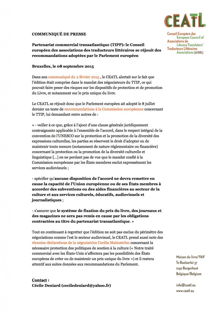 Communiqué CEATL TTIP sept 2015 FR
