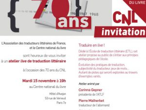 Traduire en live : le 15 novembre au CNL